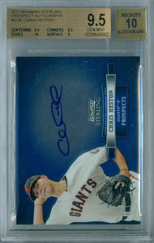 CHRIS HESTON 2012 BOWMAN STERLING RC ROOKIE AUTO AUTOGRAPH BGS 9.5