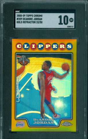 DEANDRE JORDAN 2008 TOPPS CHROME GOLD REFRACTOR SP/50 RC ROOKIE SGC 10