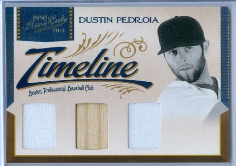 DUSTIN PEDROIA 2011 PLAYOFF PRIME CUTS TIMELINE GAME USED JERSEY/ BAT SP/25