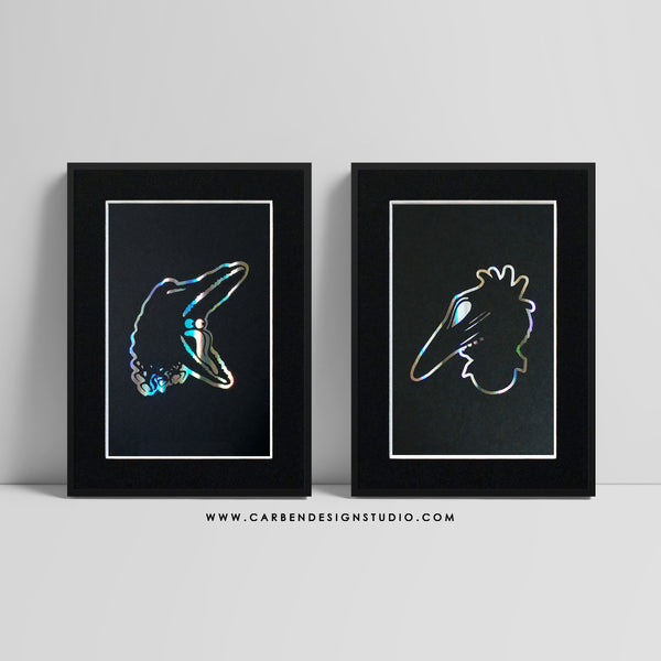 BARBARA & ADAM HOLOGRAPHIC FOIL PRINT SET