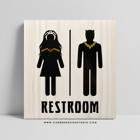 STORM & BLACK PANTHER RESTROOM SIGN