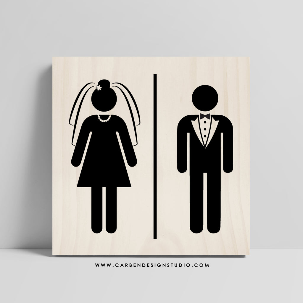 BRIDE & GROOM RESTROOM SIGN: Available in 2 Sizes