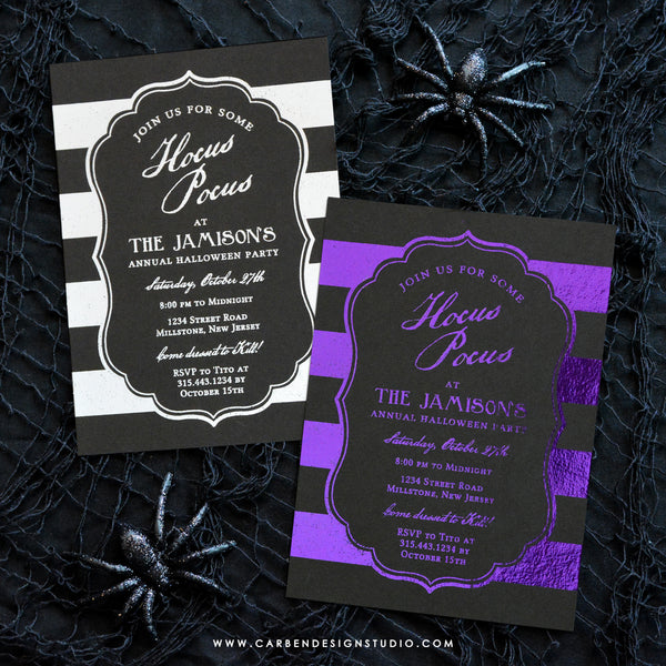 HOCUS POCUS FOIL INVITATION: Available in 3 Colors
