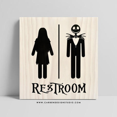 JACK & SALLY RESTROOM SIGN: Available in 2 Sizes