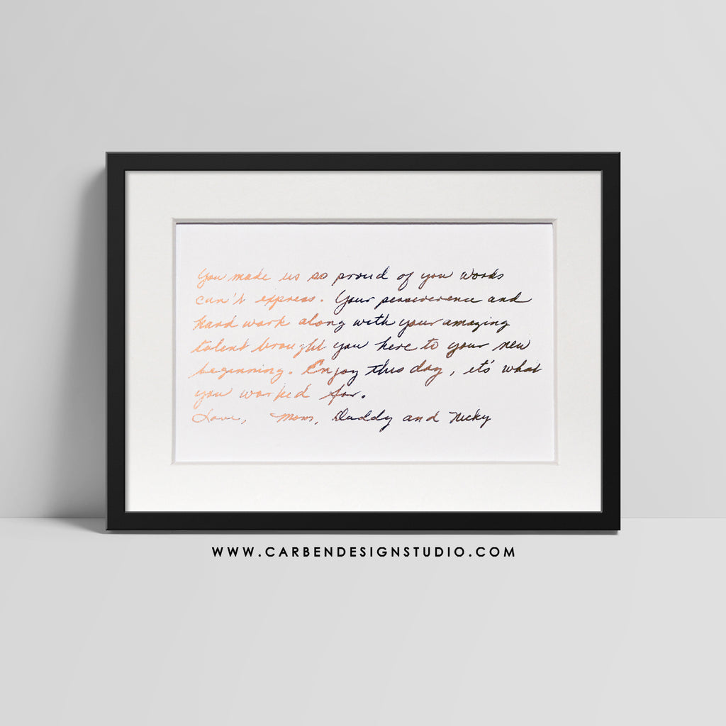 LOVE LETTERS 5x7 CUSTOM FOIL PRINT: Available in Silver, Gold or Rose Gold