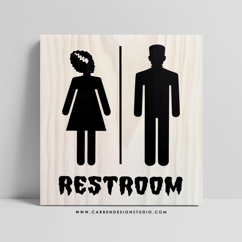 MONSTER & HIS BRIDE RESTROOM SIGN: Available in 2 Sizes