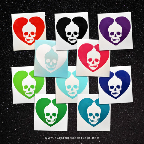 SKULL HEART VINYL DECAL: Available in 10 Colors