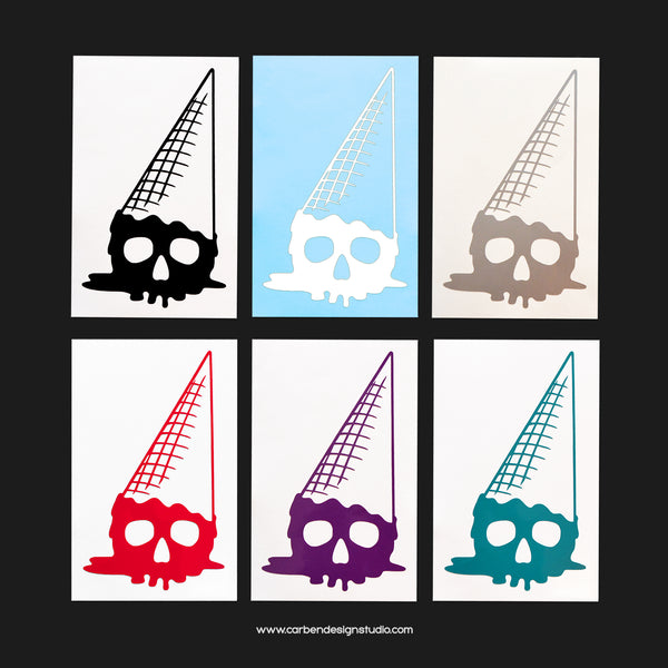SKULL ICE CREAM CONE VINYL DECAL: Available in 6 Colors