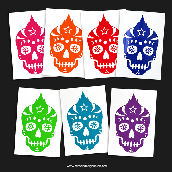 SUGAR SKULL VINYL DECAL: Available in 7 Colors