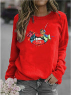 Butterfly Lips Print Crew Neck Sweatshirt