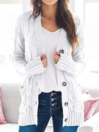 2020 Women's Autumn/Winter V-neck Long-sleeved Sweater Casual Coat