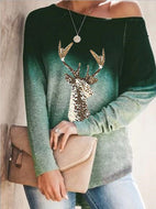 Long Sleeve Round Neck Gradient Element