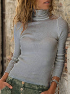 Autumn/Winter Knitted Solid Color High-neck Slim Casual Sweater
