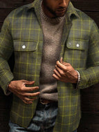 Double Pocket Lapel Slim-fit Plaid Jacket