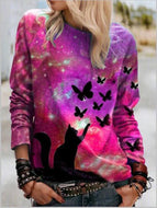 Cat Butterfly Long Sleeve Sweatshirt Casual Loose Style Autumn/Winter 2020