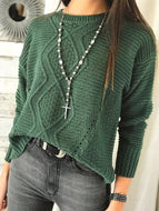 Autumn/Winter New Solid Color Slim Round Neck Sweater