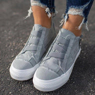 Elastic Strap Canvas Shoes Casual Stitching Single Shoes