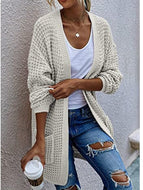 Autumn/winter New Contrast Color Loose Long Knitted Jacket