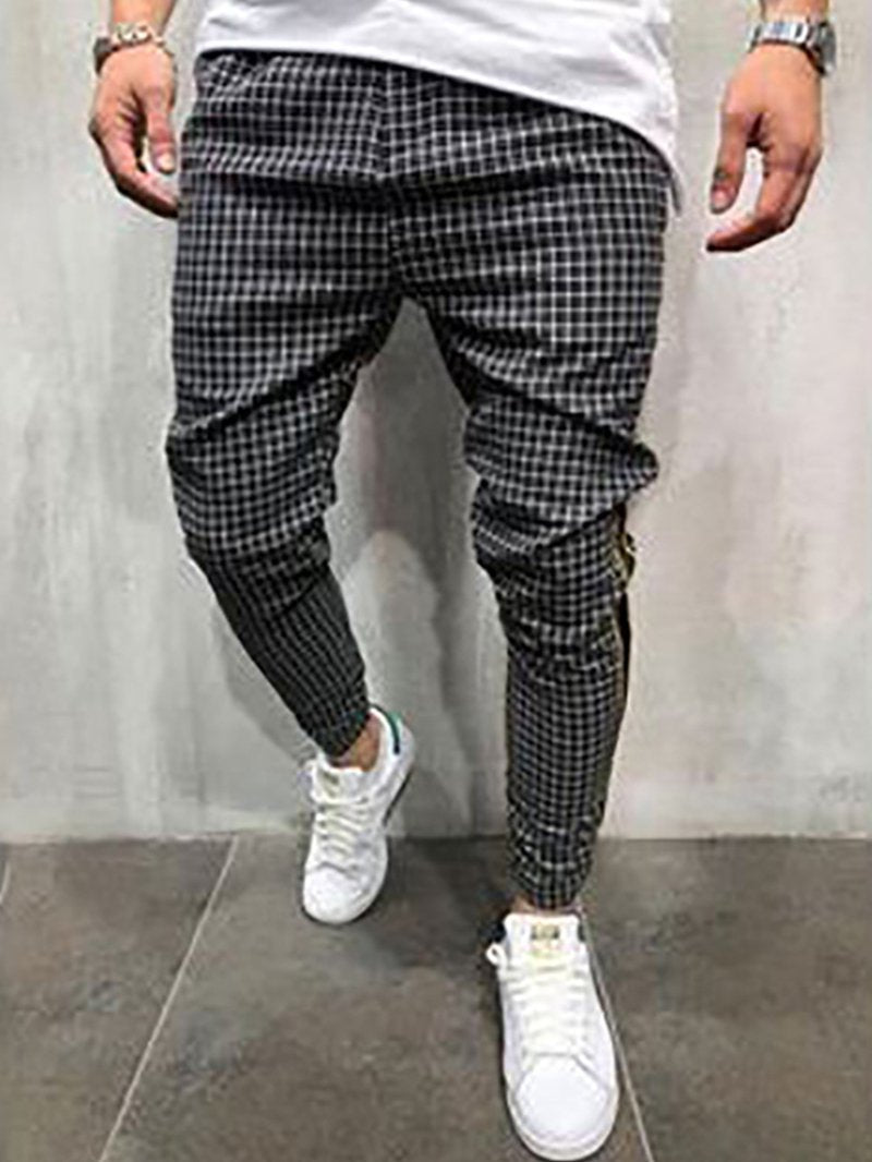 Grid Pattern Slim Casual Fashion Men's Trousers