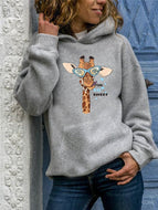Plus Size Women's Printed Hooded Tops