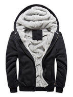 Long Sleeve Solid Color Thicken Plus Fleece Hooded Cardigan Men's Jacket