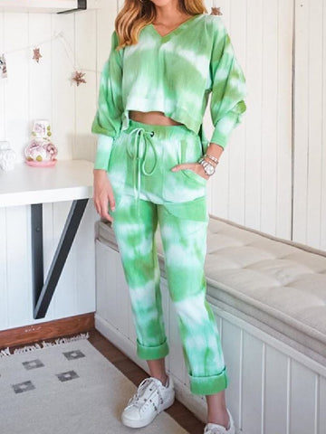 2020 New Women Tie-DyeTops Loose Casual Bottoms Suits