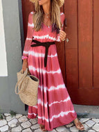 2020 New Women Long-sleeved Plus Size Loose Striped Mid-length Dresses