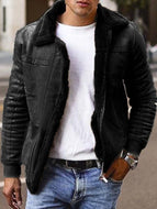 Composite Leather Jacket Thick Coat