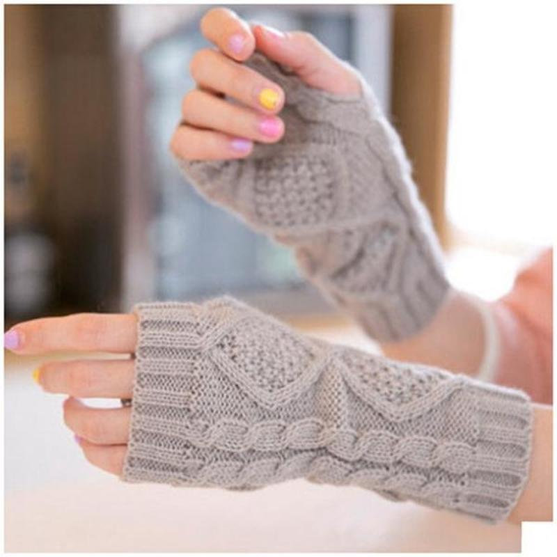 Knitted Fingerless Ladies Gloves Arm Warmer Mittens