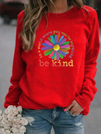 Be Kind Sunflower Print Crew Neck Sweatshirt