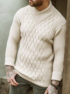 Men's Slim Long Sleeve Check Jacquard Turtleneck Knit Sweater