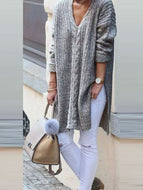 Fashion Mid-length V-neck Sweater Sweater