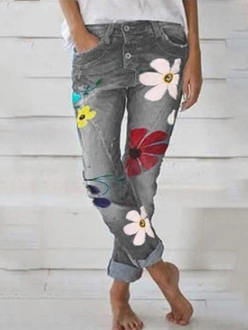Paneled Floral Print Side Pockets Casual Jeans