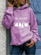 Women's Plus Size Animal Letters Printed Round Neck Hooded Sweatshirt