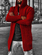 Men's Cardigan Solid Color Hooded Jacket Sweater