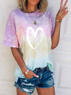 2020 New Love Gradient Color Tie-dye Short Sleeve T-shirt