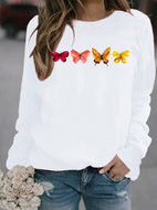 Four Butterflies Print Hooded Sweatshirt