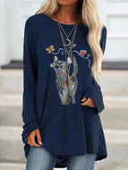 Fall 2020 Cat Print Round Neck Long Sleeve T-Shirt Top