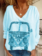 2020 Women's Casual Loose Printed Long Sleeve V-Neck Top