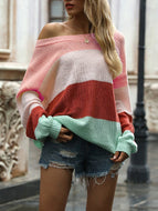 Women's Lantern Sleeve Striped Stitching Contrast Sweater