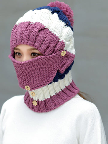 Bib Integrated Woolen Hat