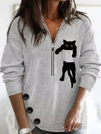 Autumn New Style Lapel Cat Zipper Long-sleeved Sweatshirt