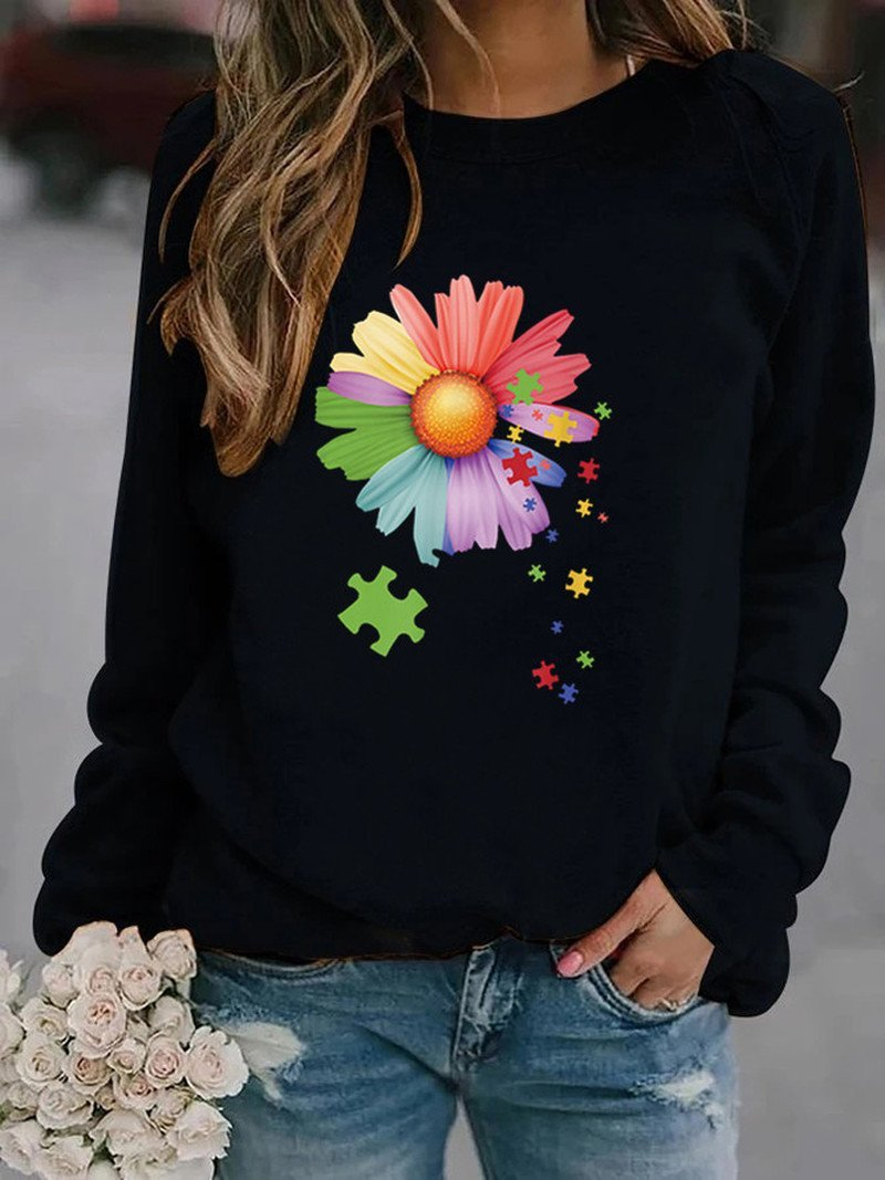 Women's Plus Size Multi Color Sunflower Print Hoodless Sweater