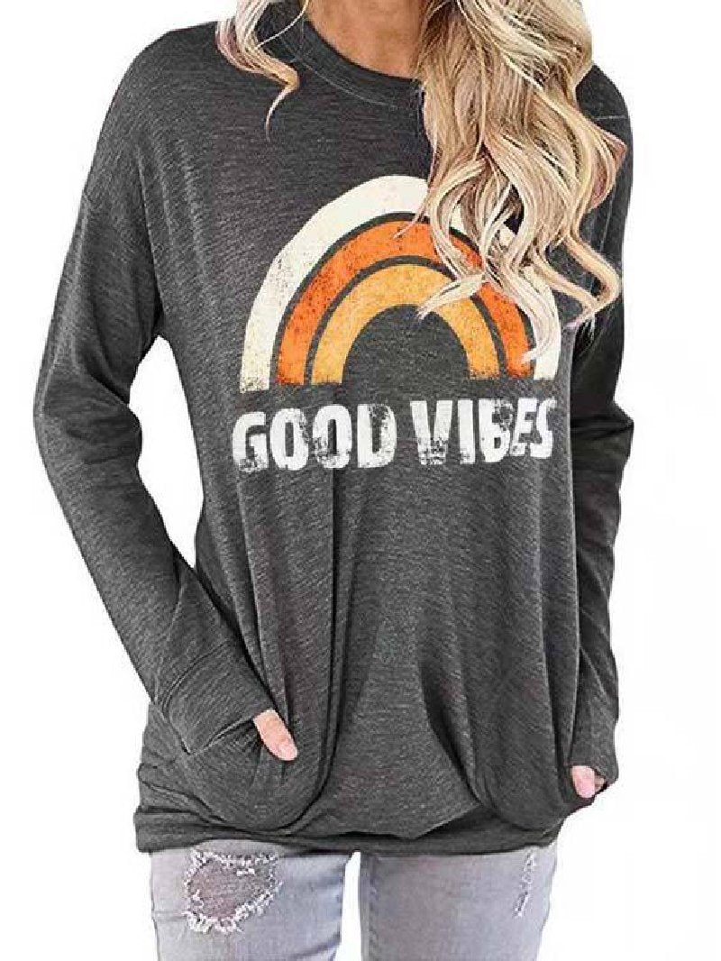2020 Women New Rainbow Letter Printing Loose Casual Round Neck Long Sleeve Top