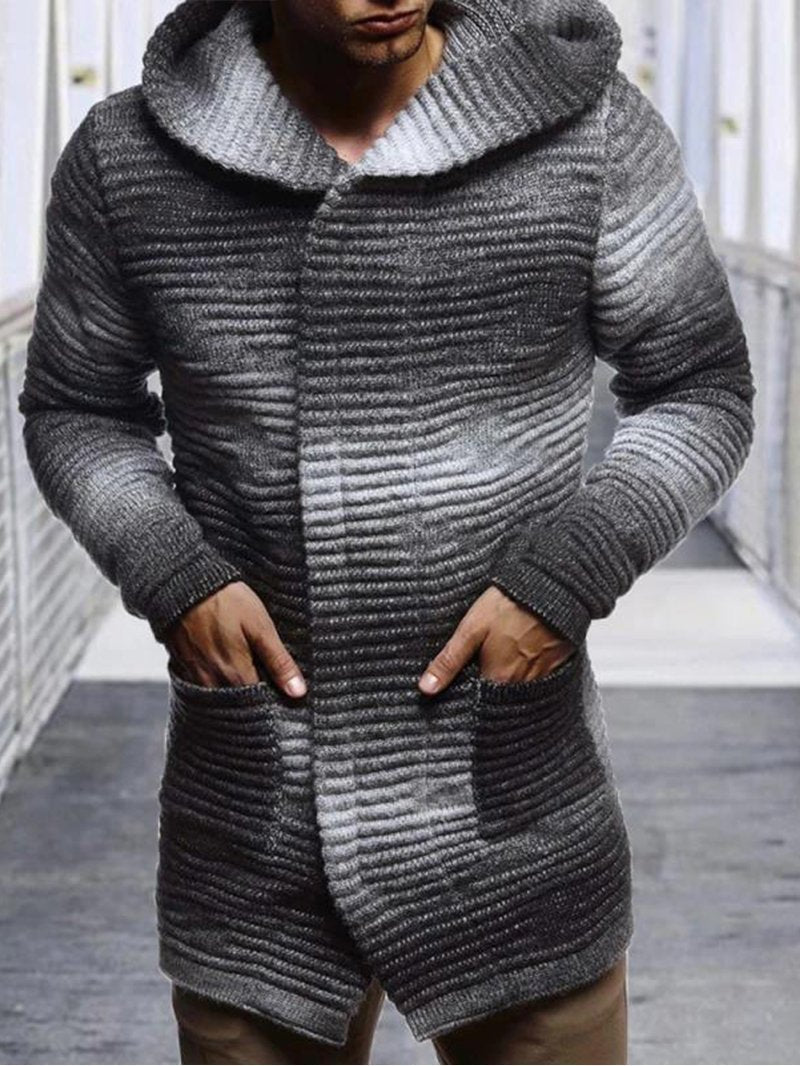 Men's Gradient Hooded Long Sleeve Knit Jacket
