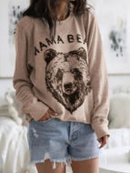 2020 Women New Letter Print Round Neck Long Sleeve Loose Casual Top