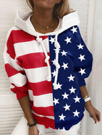 Autumn/Winter Striped Printed Hooded Thin Loose Sweatshirt