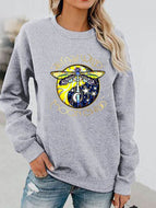 Music Dragonfly Print Long-sleeved Round Neck Sweatshirt