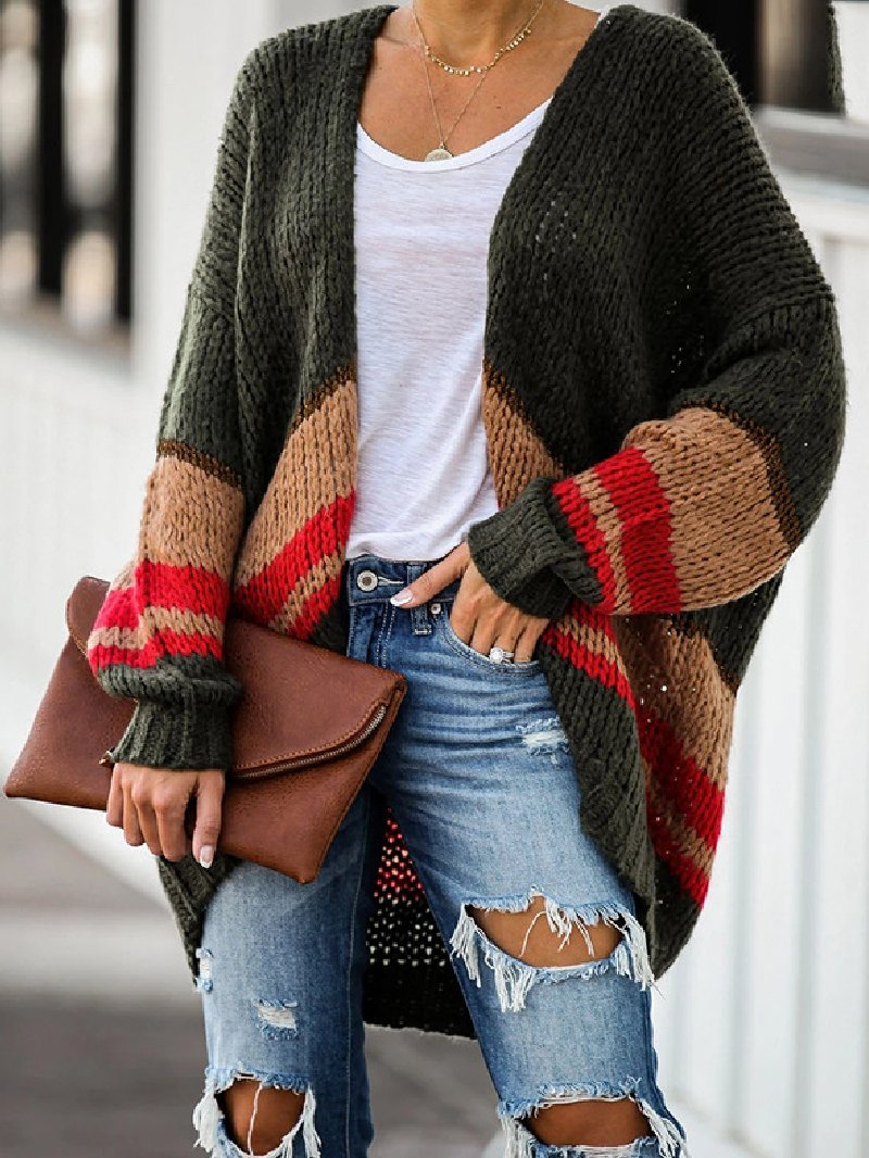Autumn/Winter Plus Size Loose Stitching Knitted Jacket Coat
