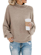 Solid Color Thick Thread Turtleneck Pullover Sweater